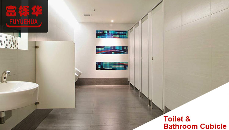 wooden color hpl panel toilet cubicles with curved doors