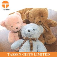 cheap price brown bear toy silk ribbon bowknot teddy bear engaged plush toy big plush toy