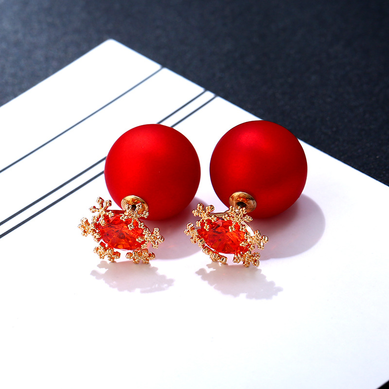 925 Sterling Silver Double Sided Snowflake Red Ruby Cubic Zirconia CZ Pearl Ball Stud Earrings