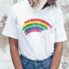 Женская футболка с круглым вырезом, летняя Радужная футболка в Корейском стиле, в стиле гранж, harajuku ulzzang, 2019(China)