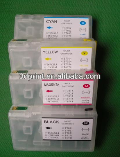 Refillable ink cartridge with auto reset chip for Epson Workforce Pro WP-4532