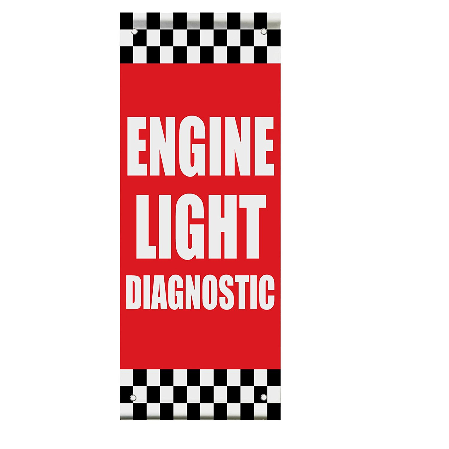 Engine Light Diagnostic Auto Body Shop Car Double Sided Pole Banner Sign 24 in x 36 in w/ Wall Bracket