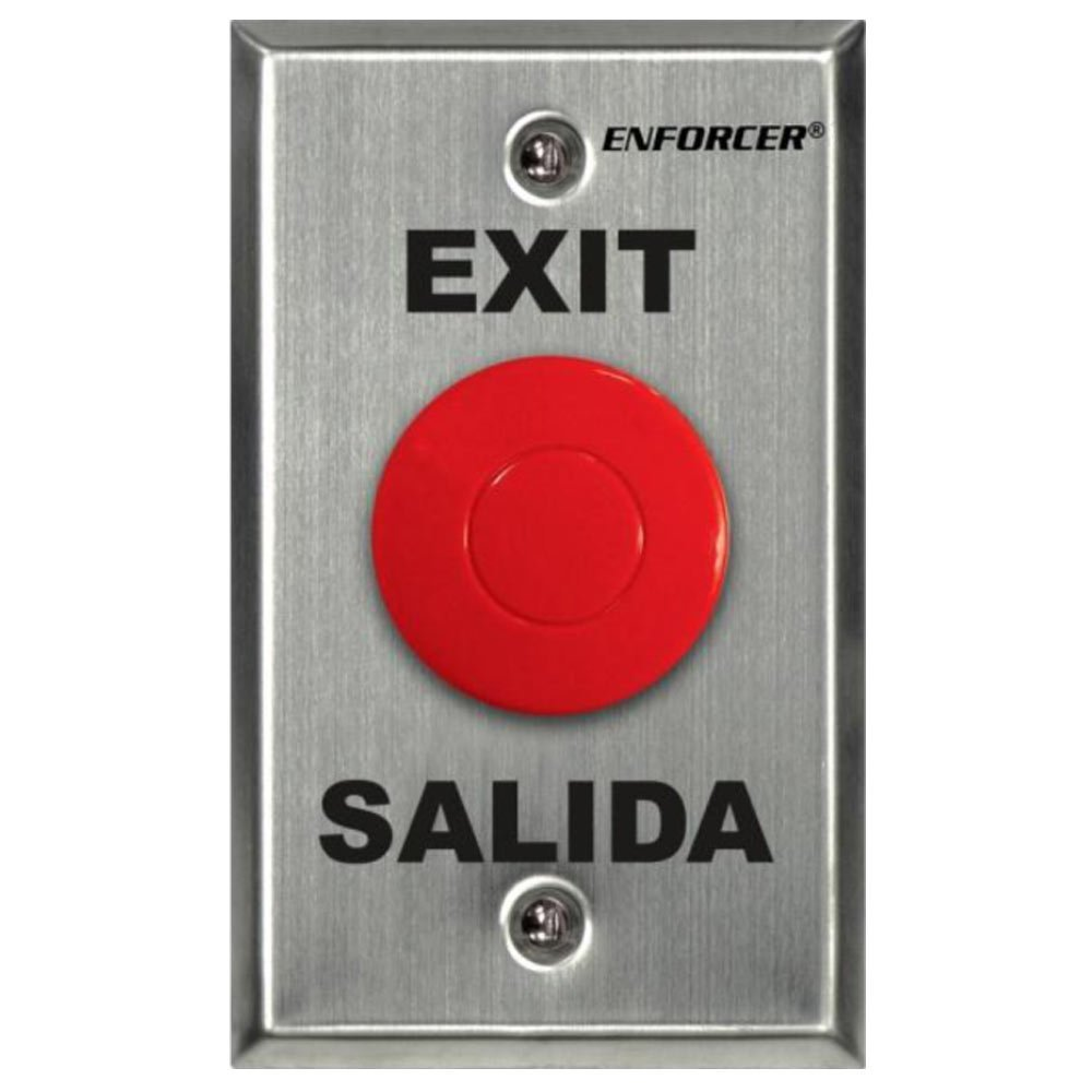"""SECO-LARM SD-7201RCPE1Q ENFORCER Request-to-Exit Plate with Red Mushroom Cap Push Button, Stainless-steel face-plate, """"Exit"""" and """"Salida"""" silk-screened on plate"""