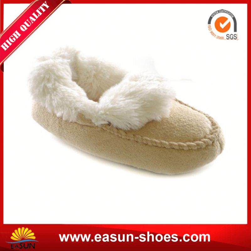 Promotional comfortable cheap winter kids shoes fake suede kids shoes baby indoor slipper shoe