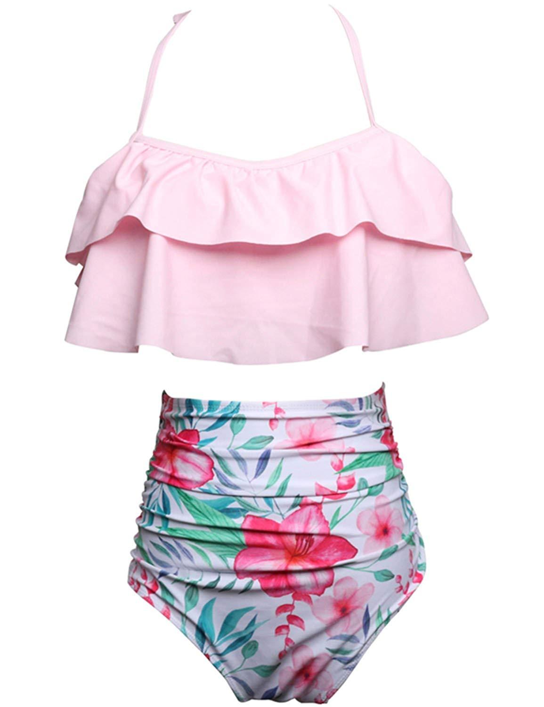 0e550e287b5 Get Quotations · Vivilover Little Girl Swimsuits Ruffle High Waist Bikini  Two Piece Kids Bathing Suits Girls