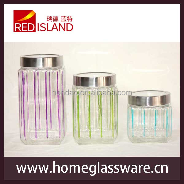hand painting square glass jar with window lid, glass storage jar, canister set