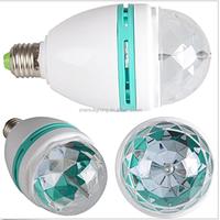 High Quality Auto Mini Party Light Stage Lighting LED Bulbs E27 3W Bulb Full Color RGB LED Plastic Rotating Lamp