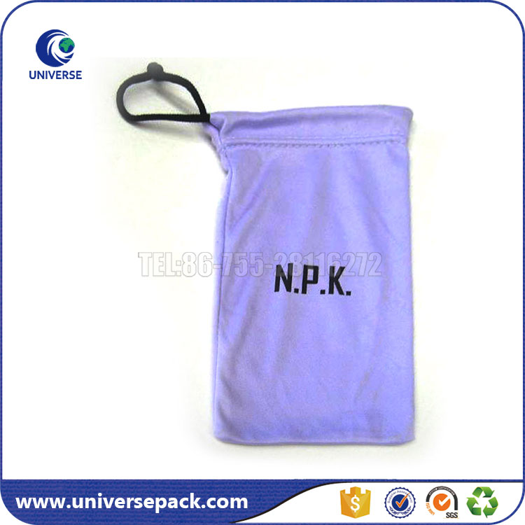 Logo printed custom microfiber bags with drawstring for eyeglasses