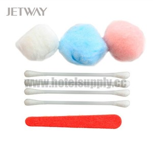 Hotel vanity kit nail file, cotton ball, swab, cosmetic cotton pad