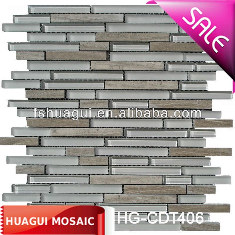 Cocina lineal vidrio backsplash mosaico de mármol azulejos-Mosaicos ...