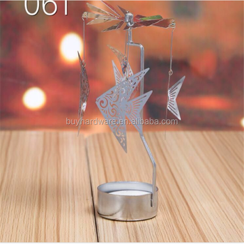 Christmas decoration fish revolving metal candle holder lantern