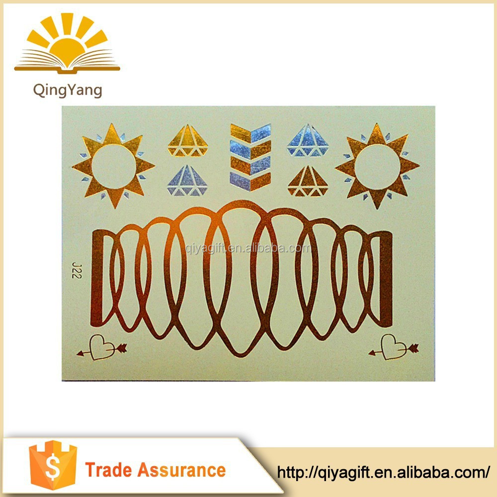 golden flash tattoo metallic temporary body sticker tattoos