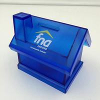 House Shape Plastic Money box in OEM Color and Logo