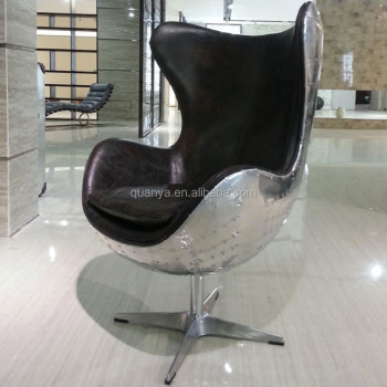Modern Aviator Leather Egg Chair Cover Aluminium By Arne Jacobsen