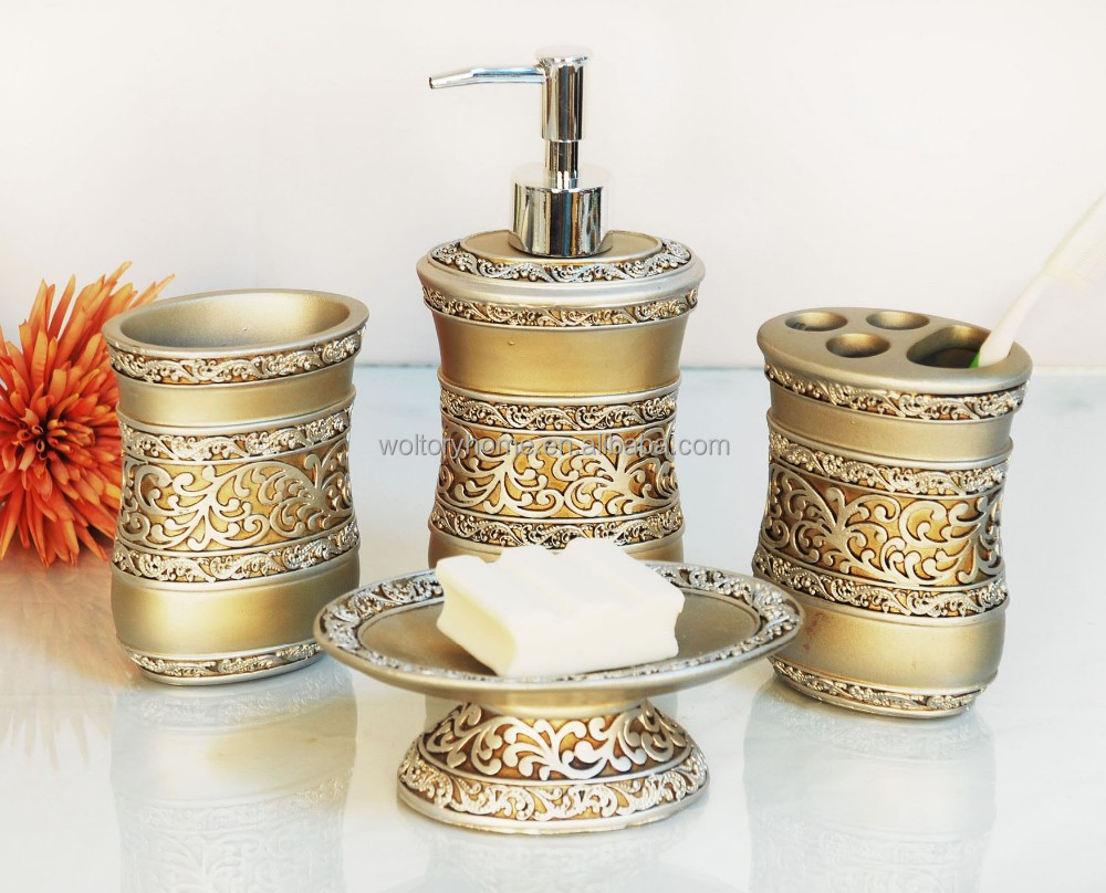 4PCS Set Bath Accessories/Popular Golden polyresin Bathroom set
