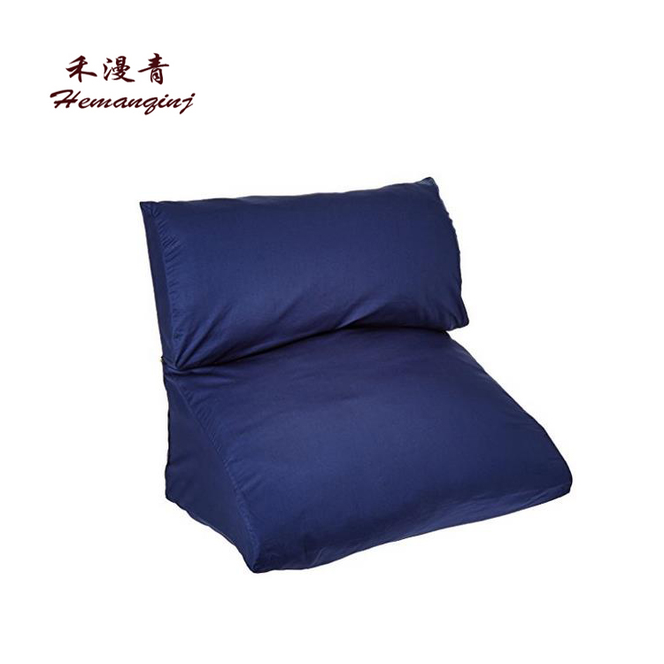 The cushion on the cushion of the bed of many one in one bed, pillow blue