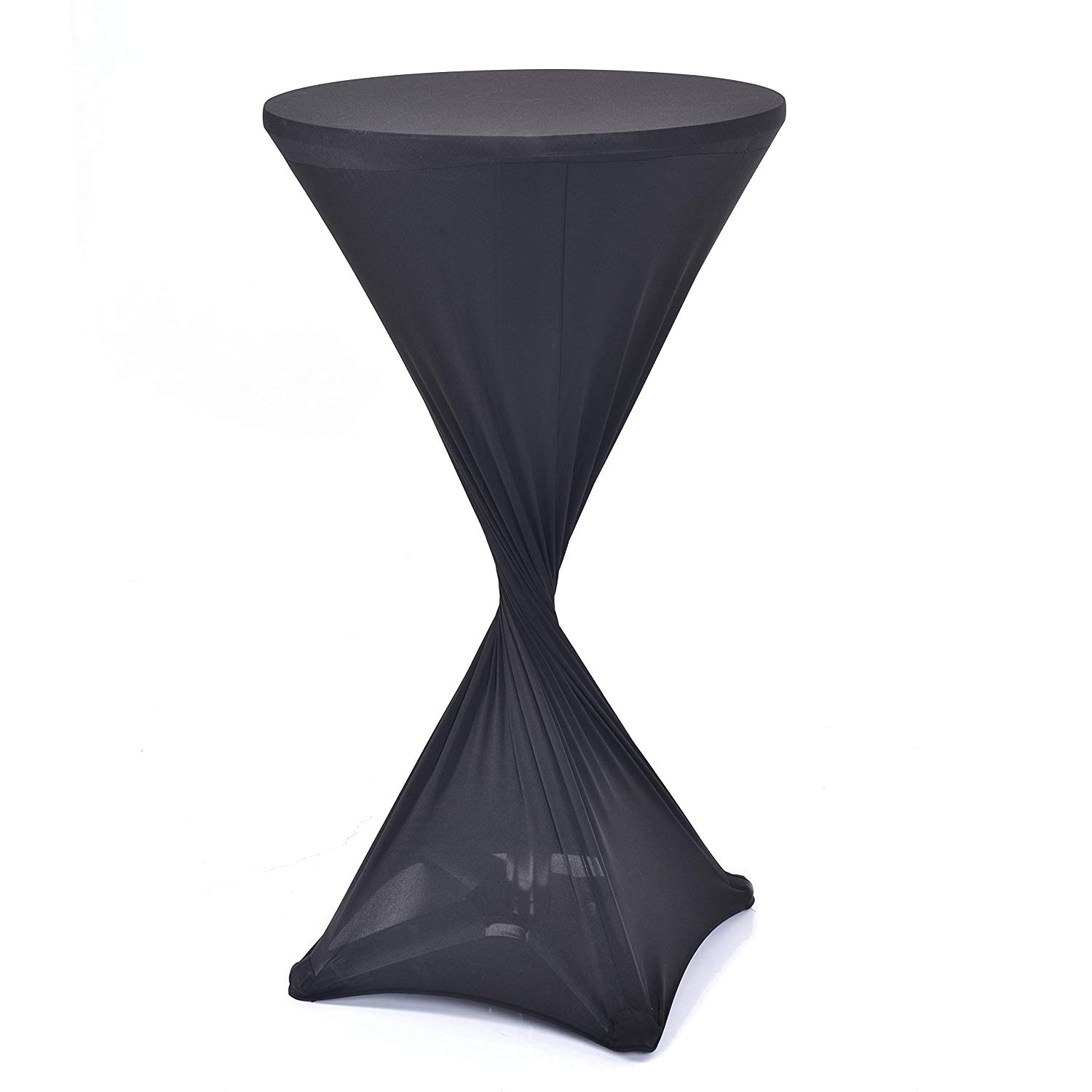 "Votown Home Cocktail Fitted Spandex Table Cover for Folding Bar Height Tables 24"" Round x 42"" Tall (Black)"