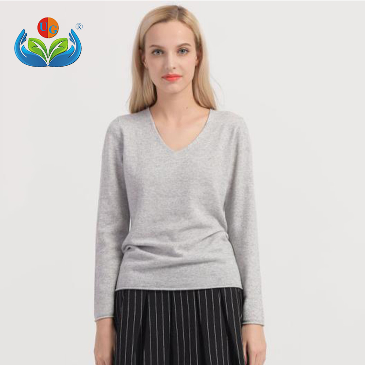 New Foreign Trade V-neck Knitted Pullover Women Loose Sweater
