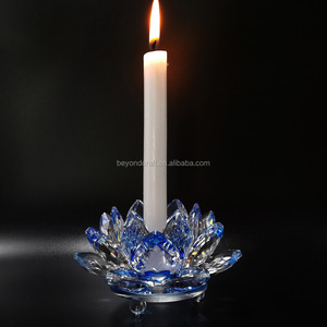 shining wholesale crystal lotus candlestcik paperweight For Fengshui Memento gifts