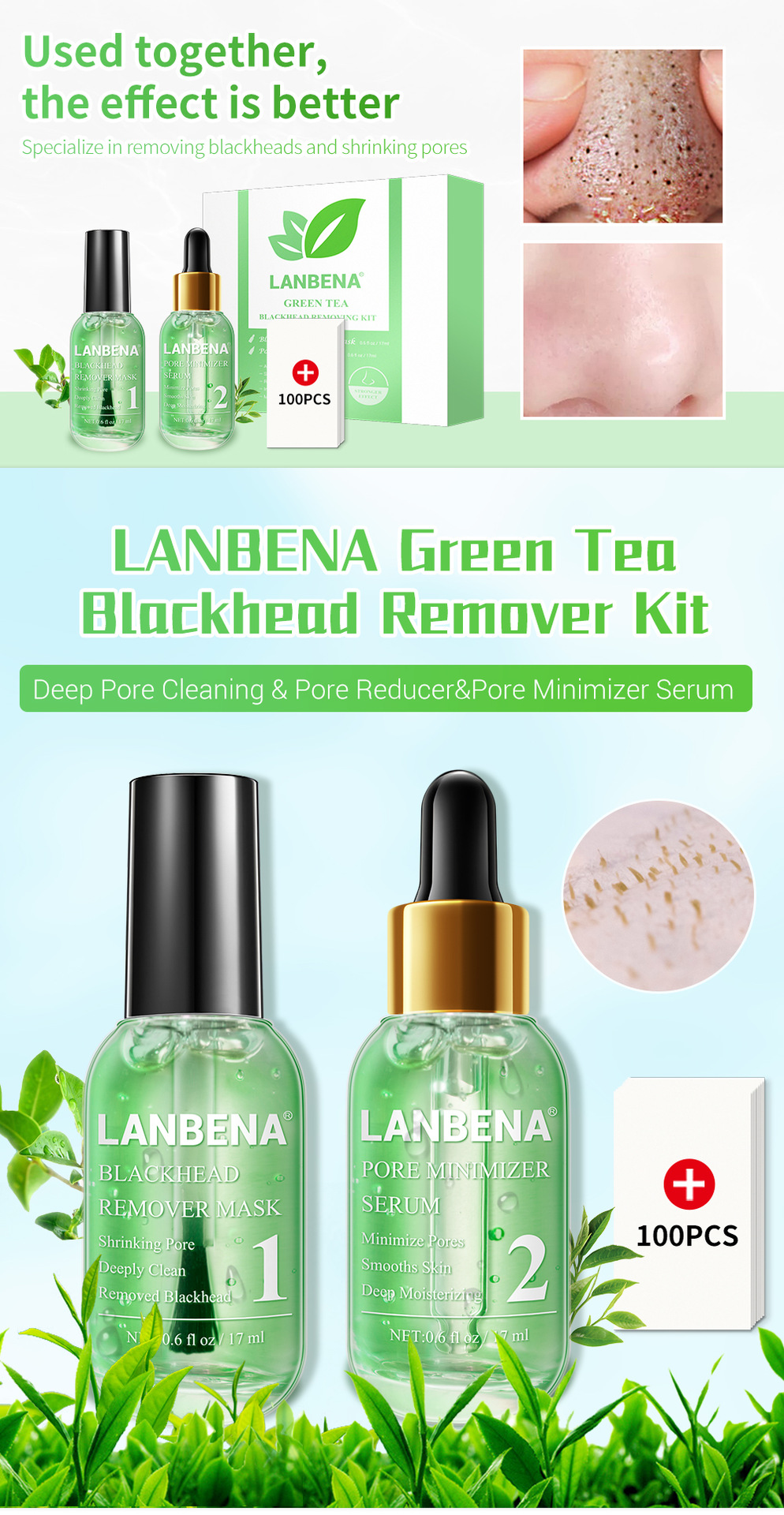 Hot selling Lanbena Green Tea blackhead remover pore minimizer serum Kit