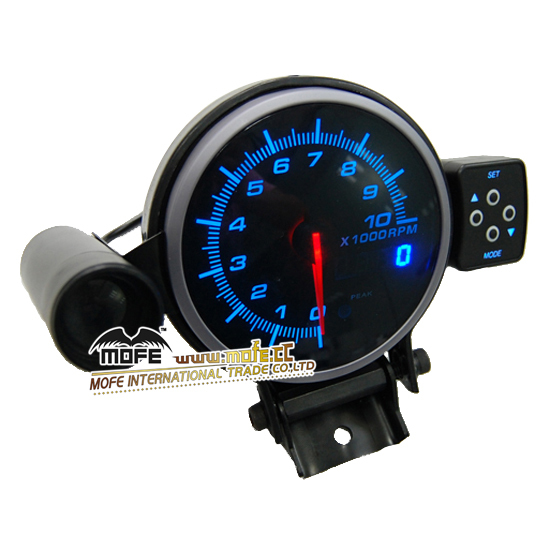 95mm Blue LED Display 10000 RPM Racing Tachometer Shift Light With Stepper Motor