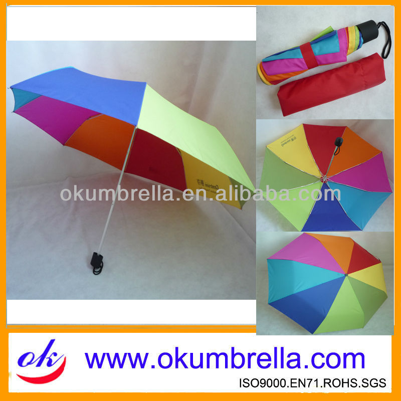 Top quality rainbow 3 folding umbrella for promotion