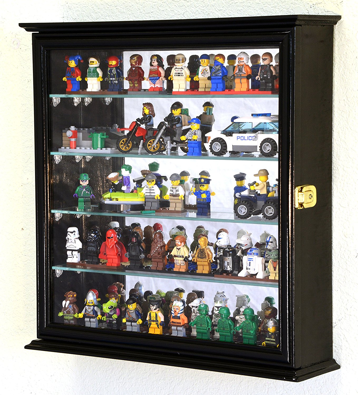 Get Quotations · 4 Adjustable Shelves Mirrored Lego Men Minifigures Legos  Disney Minature Figurines Display Case Cabinet