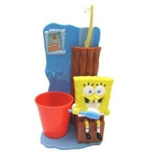 spongebob squarepants great smile toothbrush gift set with rinse cup and toothbrush and holder