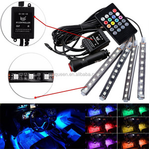 12V Car RGB LED DRL Strip Light 5050SMD Car Auto Decorative Flexible LED Strip Atmosphere Lamp Kit Fog Lamp with Remote Control