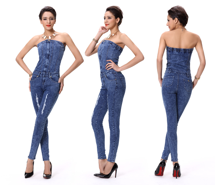 14ee7f1bbe37 Newest hot sale women skinny denim jean sexy overalls trouser jumpsuit