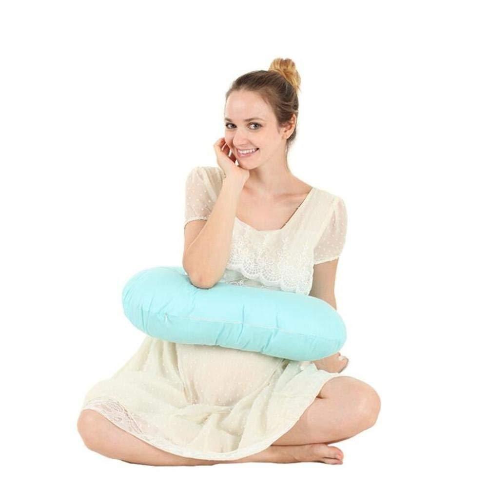 DU&HL Nursing Pillow Maternity Pillow Cotton Nursing Cushion One Hand Breastfeeding Baby Pillow, Blue