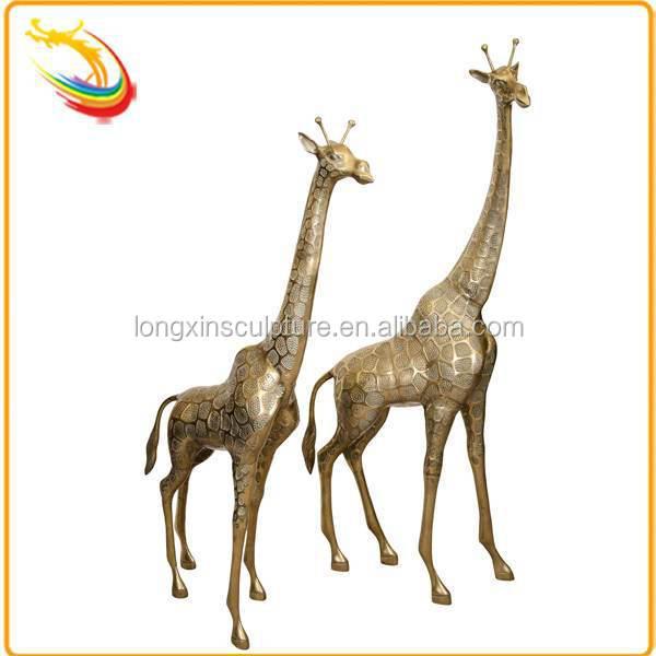 Large Garden Antique Metal Cast Bronze Giraffe Statue For Sale