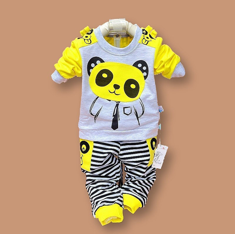 3102f1144 Girls and Boys Suit Baby Panda Cartoon Casual Long-Sleeved Striped T-Shirt  + Pants Set Kids Set