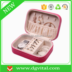 free sample pink faux leather watches pendant ring bracelet zipped travel jewelry box