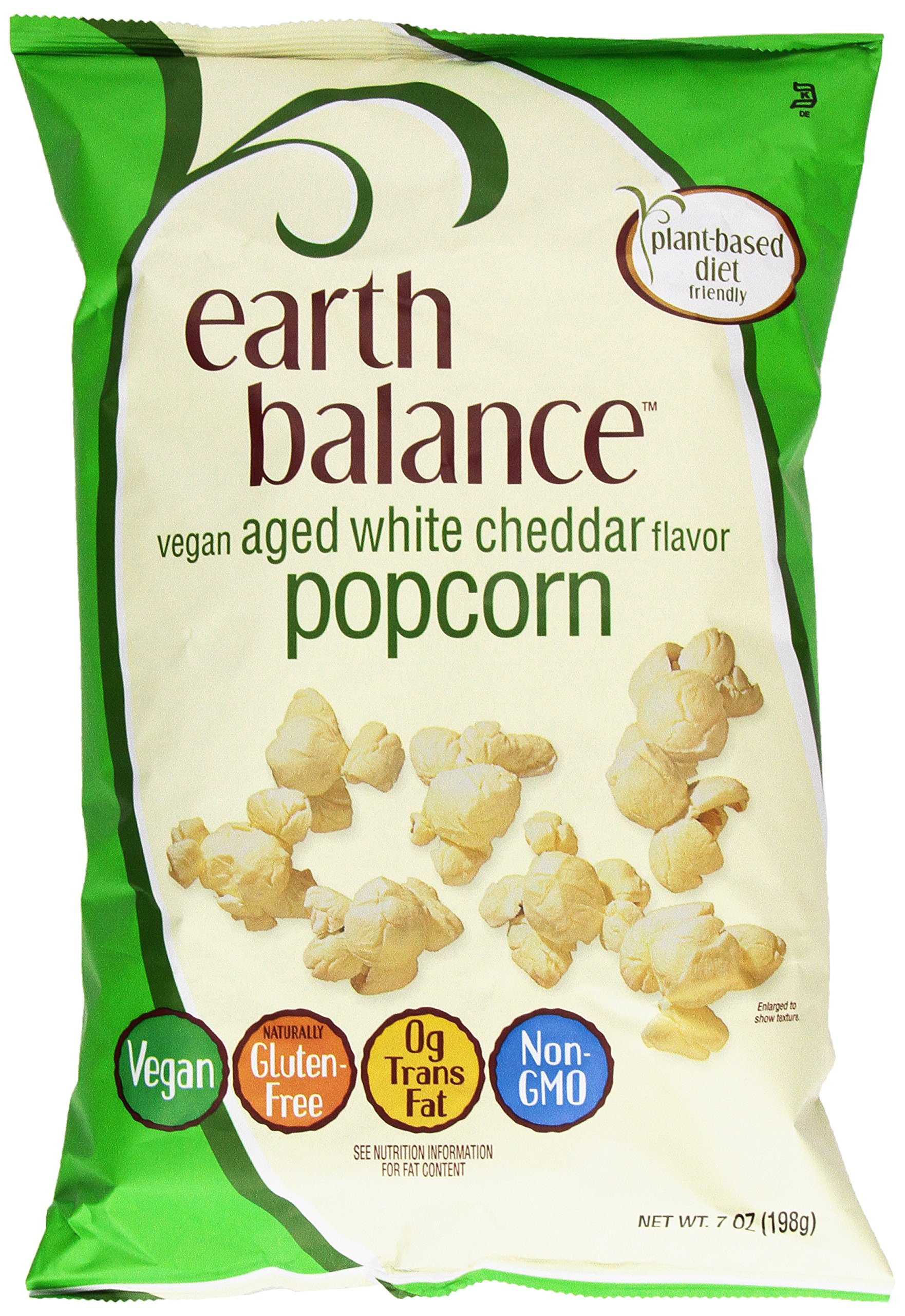 Earth Balance Gluten Free, Vegan Snacks, Aged White Cheddar Flavor Popcorn, 7 Oz
