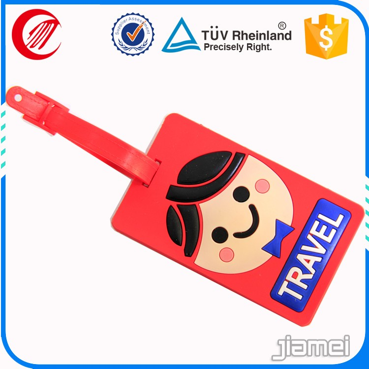 personalized custom 3d soft pvc cartoon luggage tag