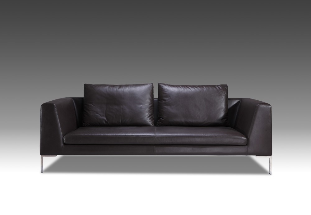 Genuine Leather Furniture. Laken Genuine Leather Sofa U2013 Smoke ...