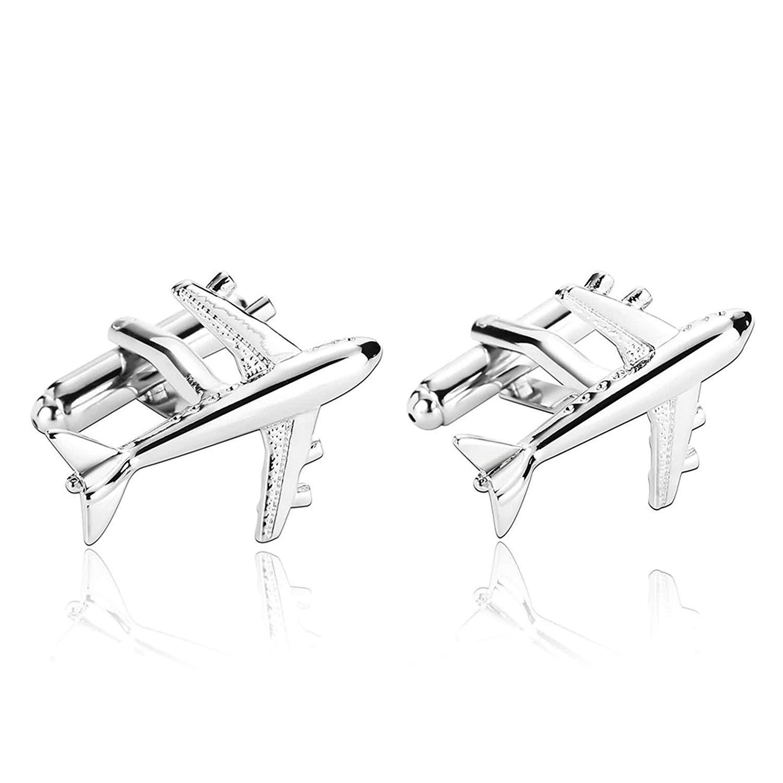 Aooaz Cufflinks for Men Stainless Steel Airplane Cufflinks Cufflinks Retro Silver Cufflinks Silver
