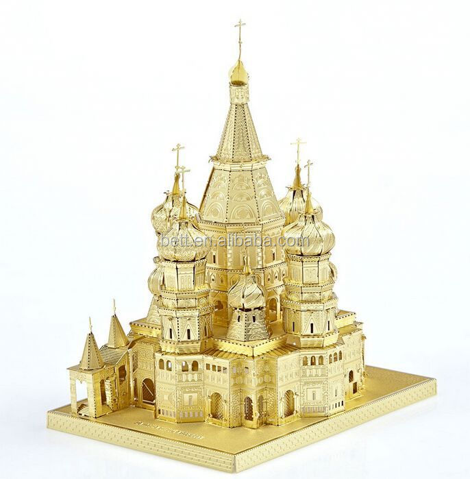 Hot selling golden Saint Basil's Cathedral 3d metal puzzle