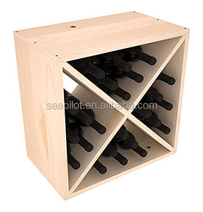 Hot Sale Wholesale Cheap Price 24 Bottle Pine Wood Wine Cube Racks