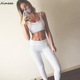Hot fashion striped mesh stitching yoga sports suit fitness yoga wear