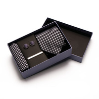 wholesale custom paper bow tie packaging box + poly neck tie+pocket square +cufflink +tie bar
