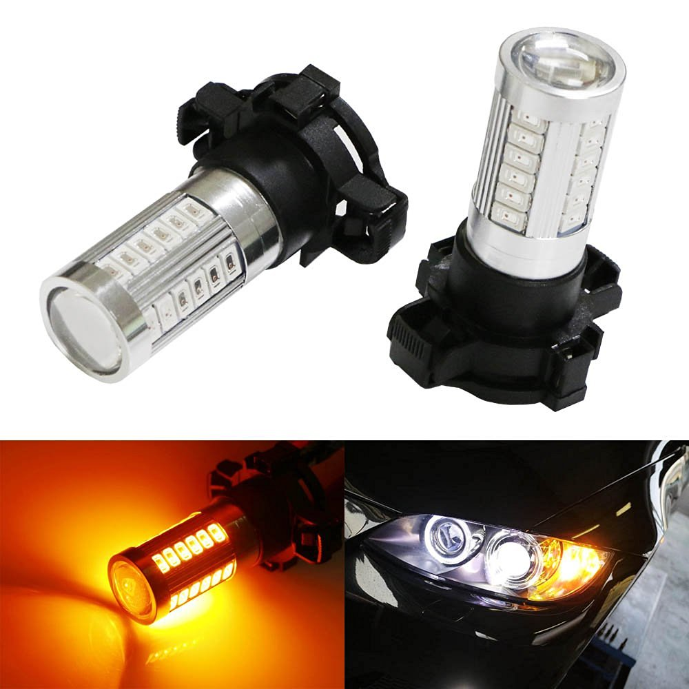 iJDMTOY (2) Amber 33-SMD CAN-bus PY24W LED Replacement Bulbs For BMW 3 4 5 Series X5 X6 Z4 Front Turn Signal Lights