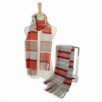 promotion Women Fashion checked Wool acrylic polyester cotton blending Scarf and shawl