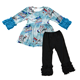Boutique kids fall winter clothes set toddler girls Christmas pattern design icing ruffle outfit