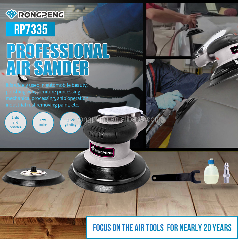 "RP7335 RongPeng 5"" Air Palm Sander,Dual Action Pneumatic Polisher"