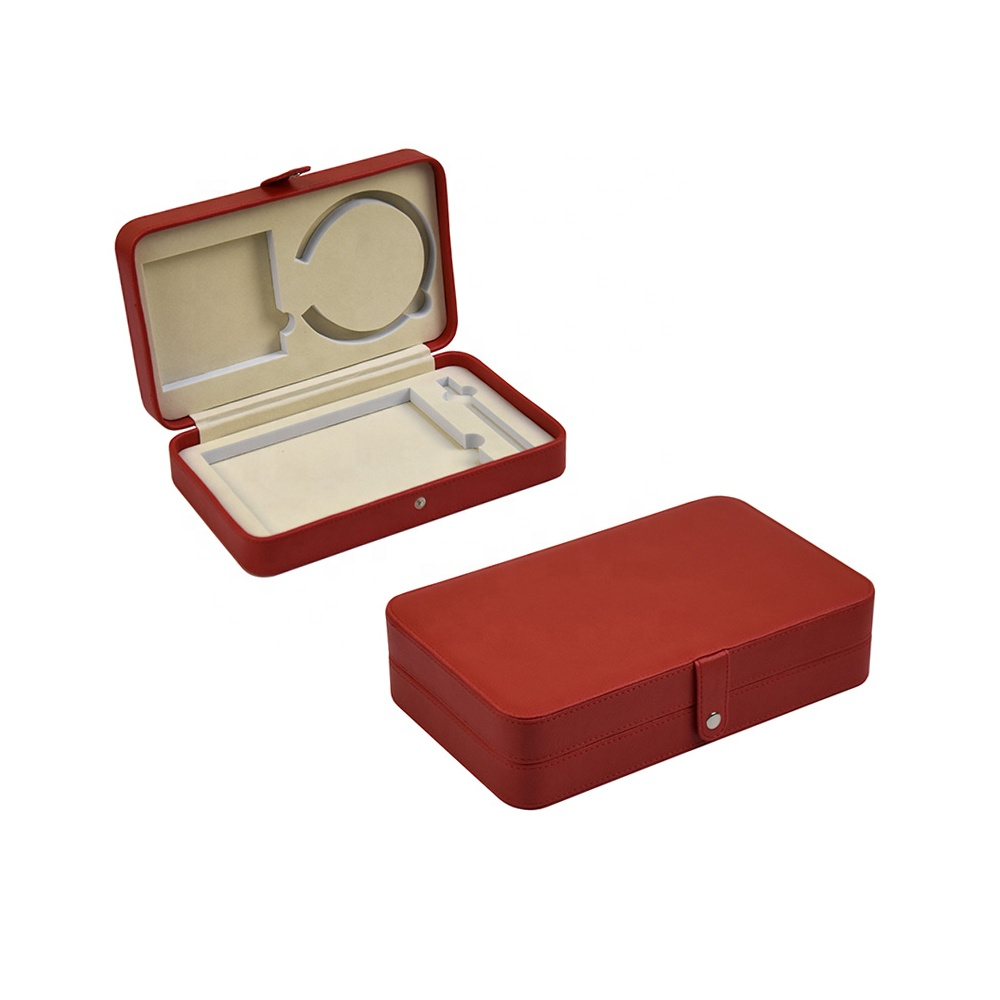 Luxury novelty handmade unique leather velvet small gift box EVA inner red magnetic gift box