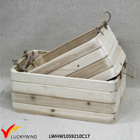 vintage wood craft box Eco friendly unfinished wooden crate