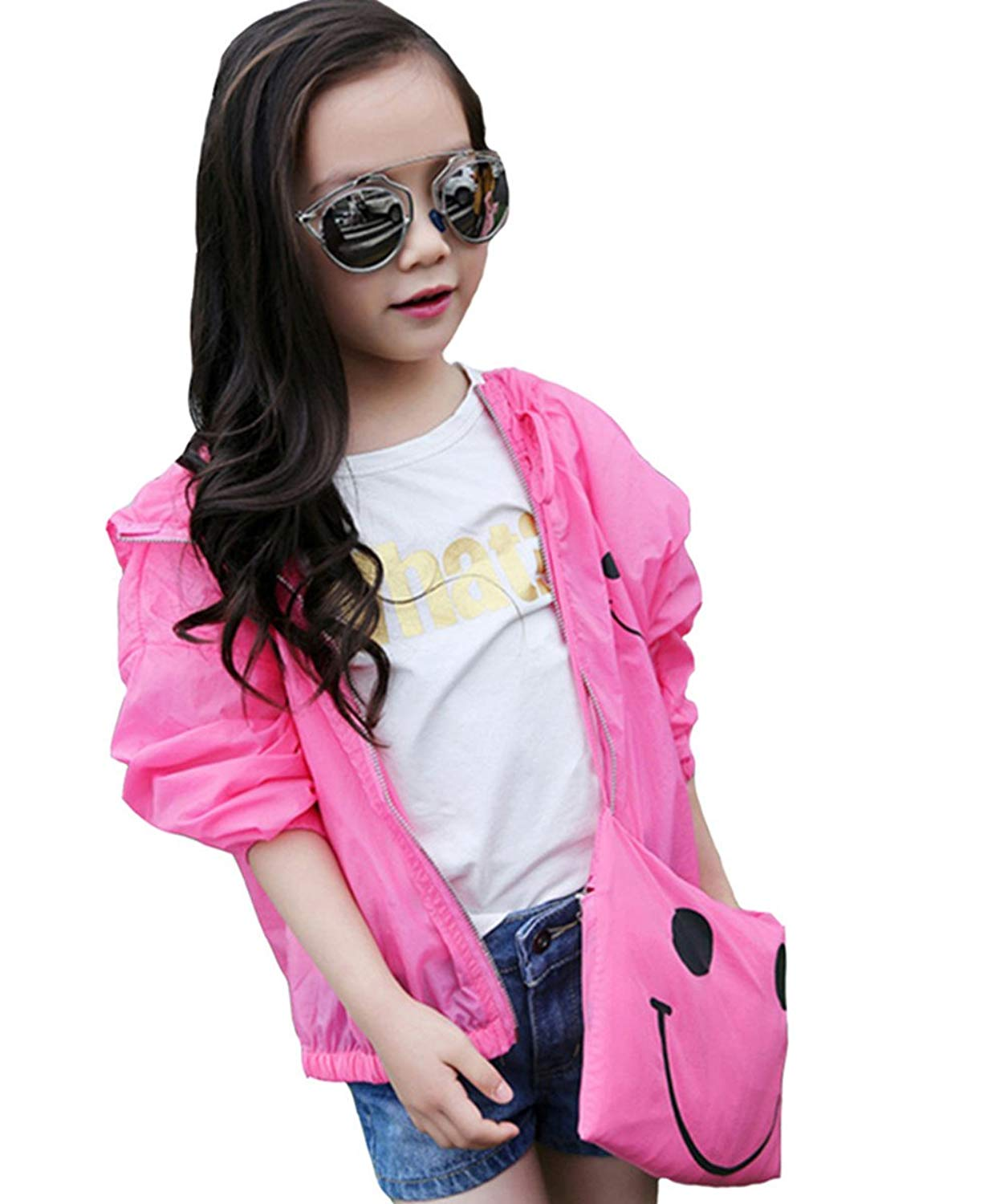 Kids Girls Cartoon Long Sleeve Hooded Thin Sun Protection Coats with Bag
