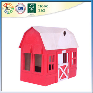 With red wall wooden house and outdoor play set,diy toy